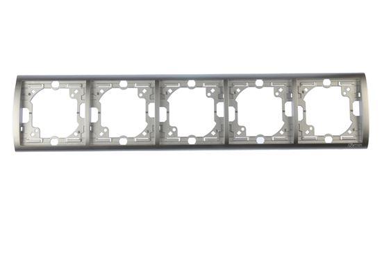 Simon Classic Ramka pięciokrotna pozioma aluminium metalizowane MR5/26