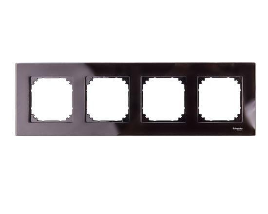 Merten M-Elegance Ramka poczwórna szklana onyks czarny MTN404403