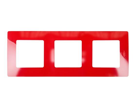 NILOE Ramka potrójna czerwony tworzywo Poziomy i pionowy potrójna 665023