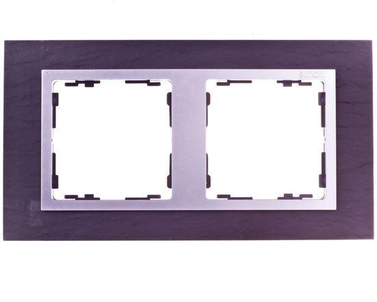 Simon 82 Ramka podwójna pozioma łupek/ ramka pośrednia aluminium mat 82927-63