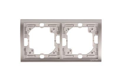 Simon Classic Ramka podwójna pozioma aluminium metalizowane MR2/26