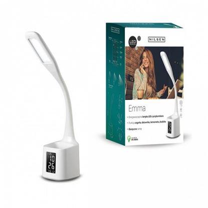 Lampka biurkowa LED EMMA BIAŁA z przybornikiem i wyświetlaczem