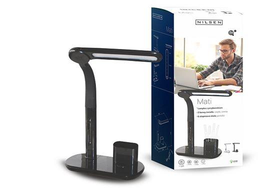 Lampka biurkowa LED MATI BLACK z przybornikiem