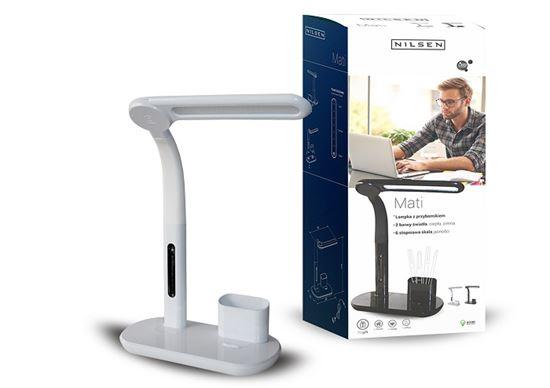 Lampka biurkowa LED MATI WHITE z przybornikiem