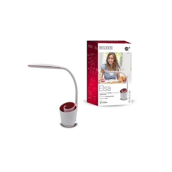 Lampka biurkowa LED ELSA  z przybornikiem biało/czerwona