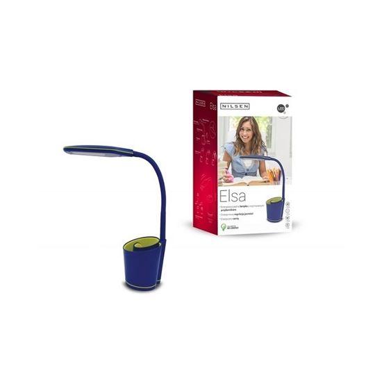 Lampka biurkowa LED ELSA z przybornikiem niebiesko/zielona