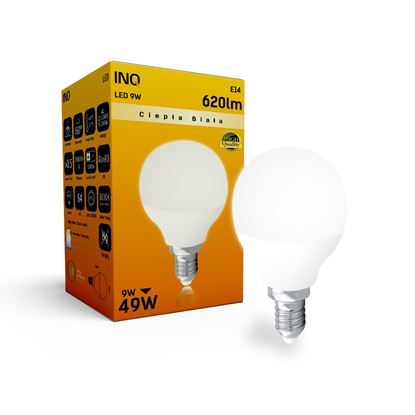 LAMPA  P45 E14 LED  9 KULKA 620lm 3000K INQ