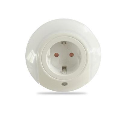 Lampka nocna wtykowa LED 0.4W 15lm z czujnikiem zmierzchu i gniazdem 220V EU