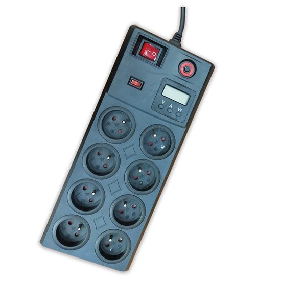 Listwa zabezpieczająca 8G Z/U 3m czarna z wył. i wyświetlaczem LCD ELEKTRO