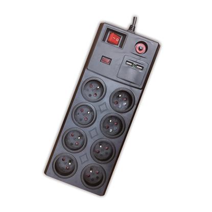 Listwa zabezpieczająca 8G Z/U 3m czarna z wył. i USBx2 ELEKTRO