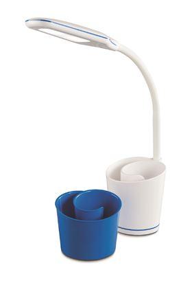 Lampka biurkowa LED ELSA  z przybornikiem biało/niebieska