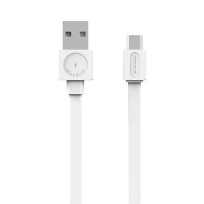 Przewód USB microUSB Flat - biały