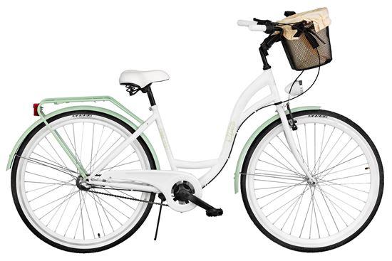 Rower Milos 28'' Nexus 3 biało-zielony + kosz