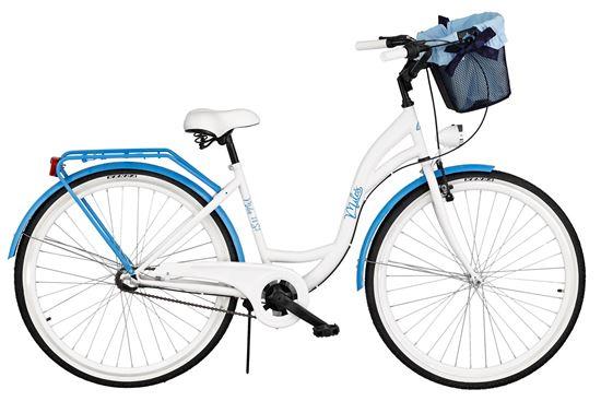 Rower Milos 28'' Nexus 3 biało-niebieski + kosz