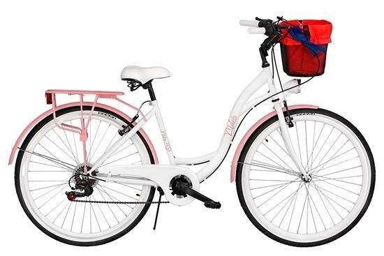 Rower Milos 28'' 7 biegów biało-różowy + kosz