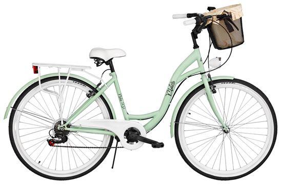 Rower Milos 28'' 7 biegów zielony + kosz