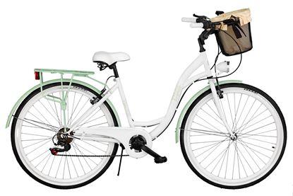 Rower Milos 28'' 7 biegów biało-zielony + kosz