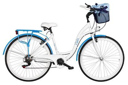 Rower Milos 28'' 7 biegów biało-niebieski + kosz