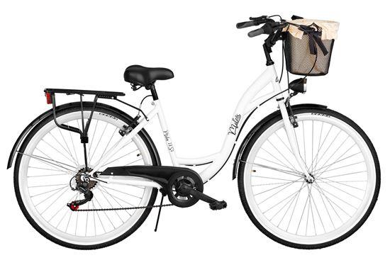 Rower Milos 28'' 7 biegów biało-czarny + kosz