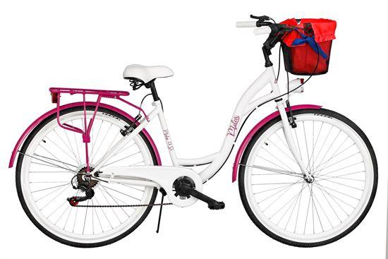 Rower Milos 28'' 7 biegów biało-fioletowy + kosz
