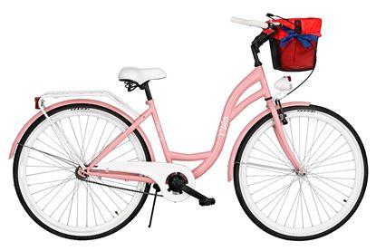 Rower Milos 28'' S1 różowy + kosz