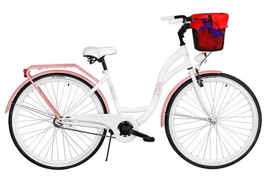 Rower Milos 28'' S1 biało-różowy + kosz