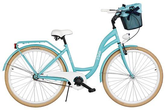 Rower Milos 28'' S1 jasny niebieski + kosz