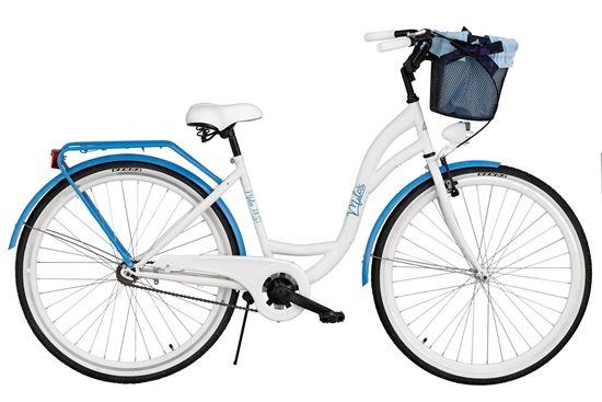 Rower Milos 28'' S1 biało-niebieski + kosz