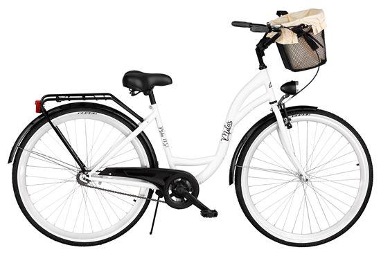 Rower Milos 28'' S1 biało-czarny + kosz