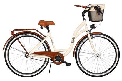 Rower Milos 28'' S1 kremowo-brązowy + kosz