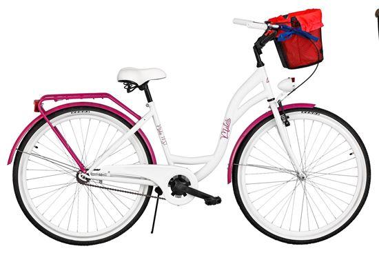 Rower Milos 28'' S1 biało-fioletowy + kosz