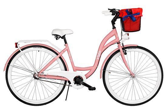 Rower Milos 26'' Nexus 3 różowy + kosz