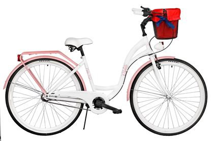 Rower Milos 26'' Nexus 3 biało-różowy + kosz