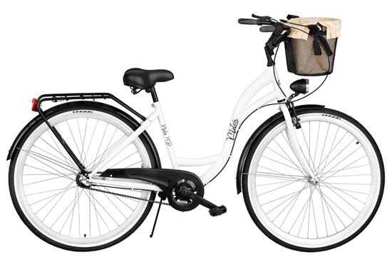 Rower Milos 26'' Nexus 3 biało-czarny + kosz