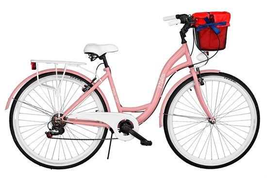 Rower Milos 26'' 7 biegów różowy + kosz