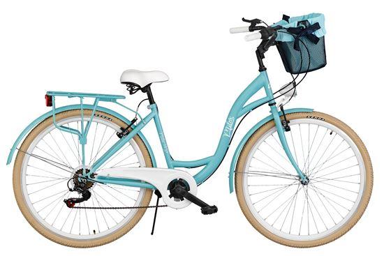 Rower Milos 26'' 7 biegów jasny niebieski + kosz