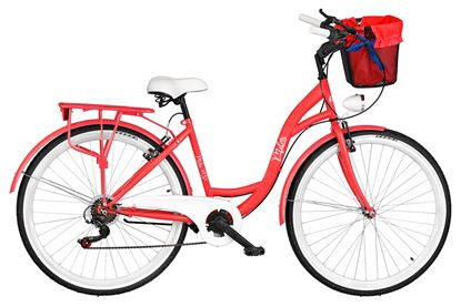 Rower Milos 26'' 7 biegów czerwony + kosz