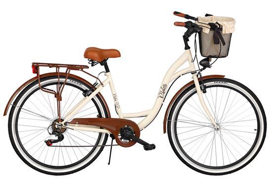 Rower Milos 26'' 7 biegów kremowo-brązowy + kosz
