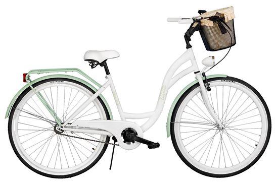 Rower Milos 26'' S1 biało-zielony + kosz