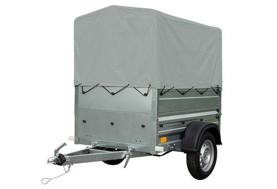 Przyczepka do auta 150x106 z burtami BIS, Stelażem i Plandeką DMC 750 KG Garden Trailer 150 Unitrailer