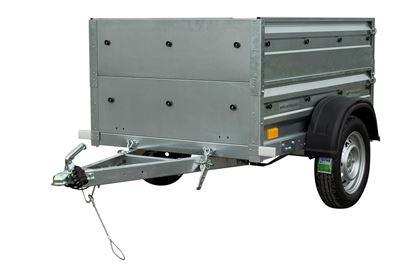 Przyczepa samochodowa 150 x 106 lekka z dodatkowymi burtami DMC 750 KG Garden Trailer 150 Unitrailer