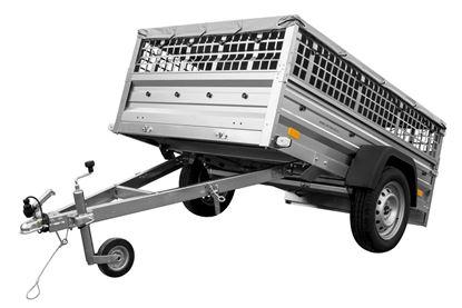 Dwukółka 200x125 z burtami siatkowymi, kołem podporowym i plandeką płaską - Garden Trailer 205 DMC 750 KG