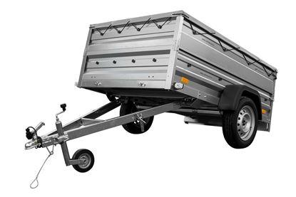 Przyczepa 200x125 z plandeką płaską, burtami BIS i kołem podporowym DMC 750 KG Garden Trailer 205 Unitrailer