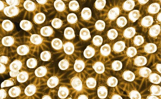 Komplet choinkowy wnętrzowy LED 100L 6W 230V Flesz biały ciepły z dod. gniazdem  przeźroczysty przewód 9,9m 20-188