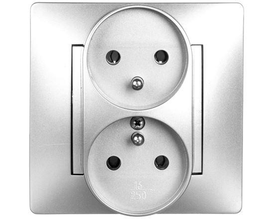 VOLANTE Gniazdo podwójne z/u 16A 230V modułowe srebrne 2643-06