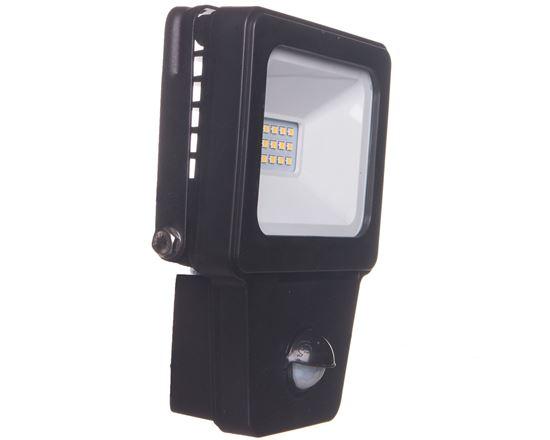 Projektor LED 10W z czujnikiem ruchu obudowa czarna aluminiowa 800lm AC 110V-240V IP54 LAMPRIX LP-12-017