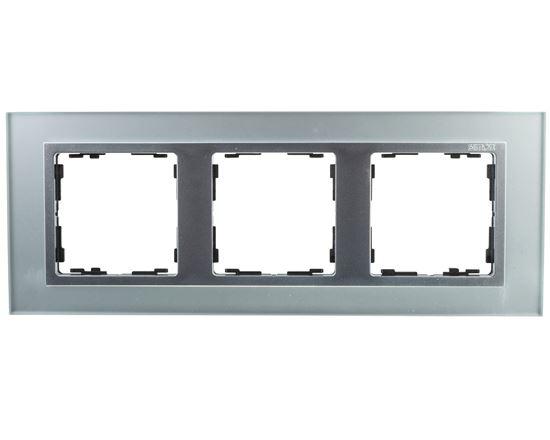 Simon 82 Ramka potrójna pozioma szklana srebro/ ramka pośrednia aluminium mat 82937-62