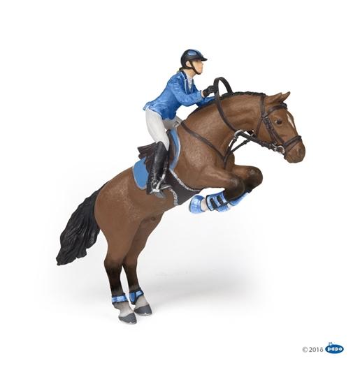 Papo 51560 koń skaczący przez przeszkodę z jeźdźcem