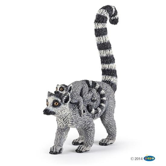 Papo 50173 Lemur z młodym  2x6,3x7,8cm (50173 RUSSELL)