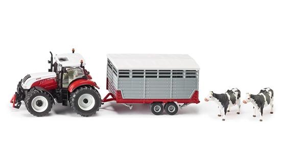SIKU Traktor Steyr z przyczepą do przewozu zwierząt (3870)